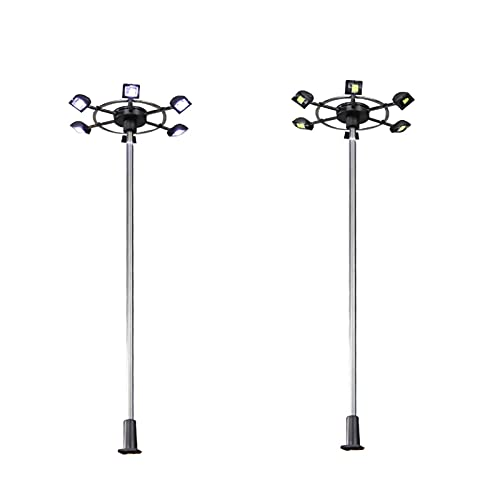 liuchenmaoyi Spielzeug für den Blumengartenbau HO N Scale Model Beleuchtungsturm Straßenlaternen Layout Laternenpfahl Zug/Garten/Spielplatz/Stadion Overhead Lights Diorama (Color : 7.7cm)