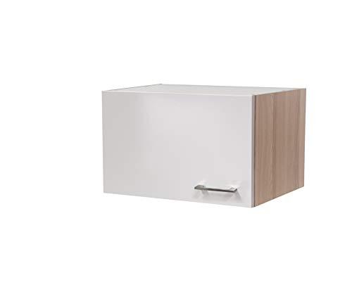 MMR Hängeschrank Küche DERRY, Kurzhängeschrank, 1-türig, wechselseitig montierbare Tür, 60 cm breit, 32 cm höhe, Perlmutt Weiß