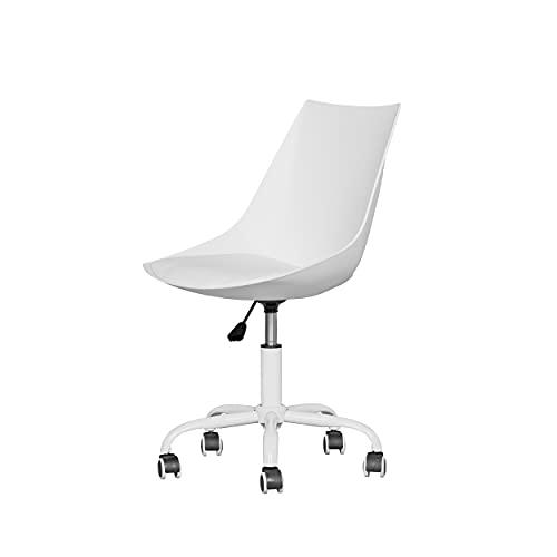 HOMYCASA Kleiner Bürostuhl ohne Armlehnen, Drehstuhl für Computer/Büro/Schreibtisch, höhenverstellbar für Heimbüro, weiß