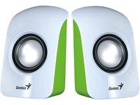 Genius SP-U115- Altavoces estéreo USB, 1.5 W RMS, Color Blanco y Verde