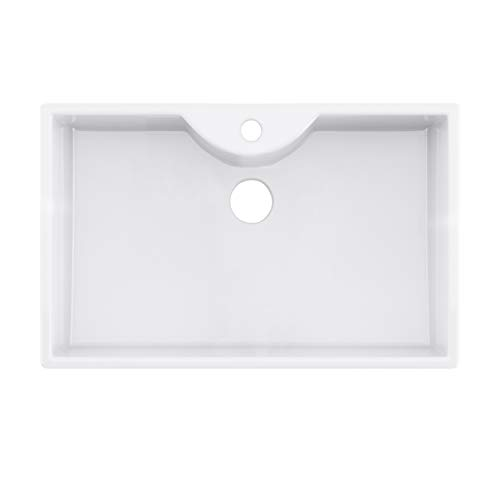 Old London PP1257 Belfast Style Farmhouse Single Bowl Fireclay Kitchen Sink with Tap Hole-795mm x 500mm, White