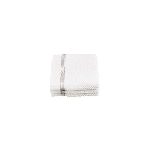 Meraki Lot de 3 Gants de Toilette Blanc/Rayures Grises 30 x 30 cm