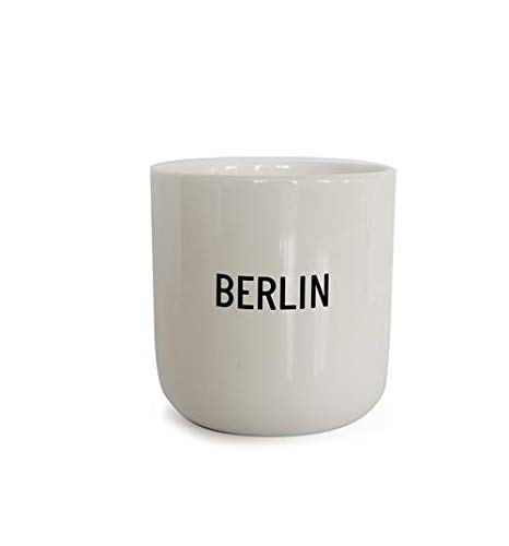 PLTY - Becher - Tasse ohne Henkel - Handglasiertes Weiß Porzellan - Hochwertiges Bone China - Lustige Tassen - Berlin - Cities