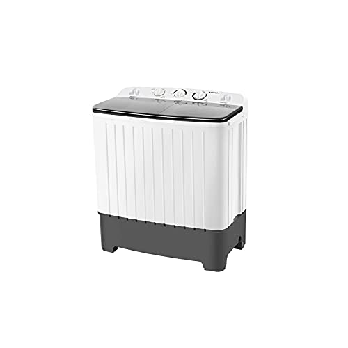 BANGSON Portable Washing Machine17.6 lbs Mini Compact Twin Tub Washing Machine, Washer and Spin Dryer Combo for Apartment, RV, Camping, Dorm, Timer Control with Soaking Function and 3 Wash Modes(Soft/Normal/Drain), White & Black