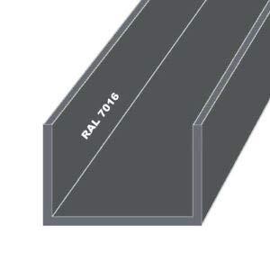 Aluminium U-Profil Pulverbeschichtet Anthrazit RAL 7016 (25x25x25x2 mm - 2000 mm)