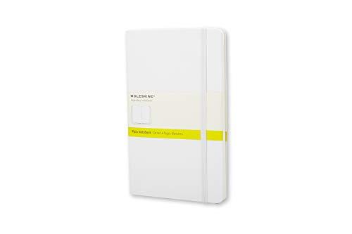 Moleskine - Cuaderno Clásico con Páginas Lisas, Tapa Dura y Goma Elástica, Color Blanco, Tamaño Pequeño 9 x 14 cm, 192 Páginas