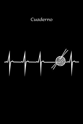 """Cuaderno con curva de corazón motivo hecho a mano """"latido de corazón tejer"""" con símbolo lana y aguja de tejer - regalo de tejer, accesorio de tejer: ... de ejercicios, bloc de 120 páginas de líneas"""