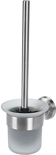 WC-Garnitur WC-Bürstenhalter Toilettenbürste mit Halter zur Wandmontage, Edelstahl mit Glaseinsatz, 12,3x12,3x37 cm