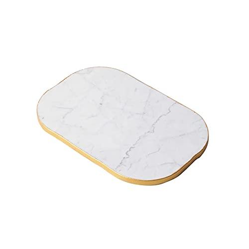 NZKW Plato para Pan, bandejas de mármol con Borde Dorado Bandejas Decorativas para el hogar Mesa Servidor de Alimentos Cómoda Bandejas de Perfume Bandejas de tocador de baño Soportes pa