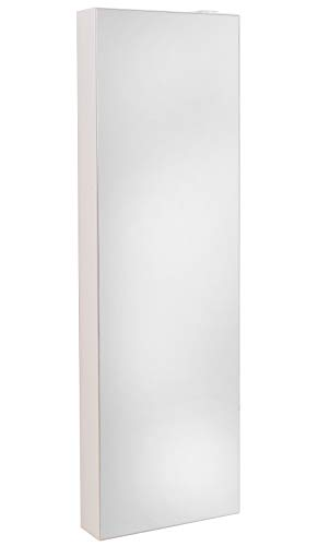 Lightclub-Shop.de - scarpiera con specchio, girevole, 500 mm, altezza 150 cm, colore: bianco