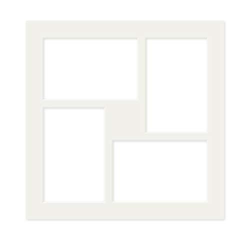 PHOTOLINI Galerie-Passepartout Weiß 30x30 cm für 4 Bilder in 10x15 cm | Passepartout mit Mehrfachausschnitt