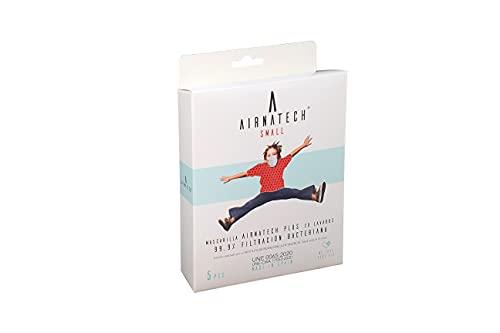 A AIRNATECH Mascarilla Higiénica Plus Roja Talla S - Protección Bidireccional - 5 Unidades - Fabricada en España - Certificada por AITEX y ensayada por AENOR - Reutilizable hasta 20 lavados