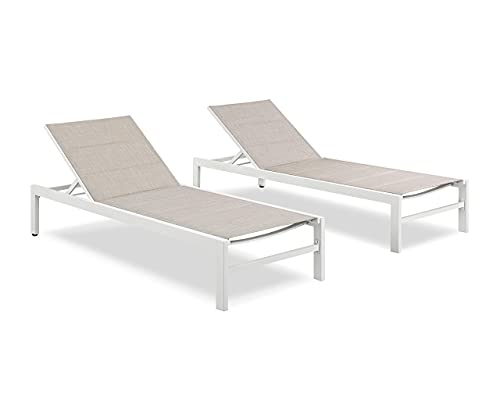 Ulax Furniture Patio Outdoor Aluminum Chaise Lounge Chair Adjustable Lounger Recliner Chair with Wheels and Padded Quick Dry Foam (Set of 2, Beige)