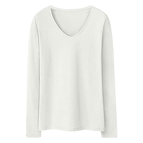 N\P Camiseta elástica de manga larga para mujer Camisa de manga larga Casual Slim Bottoming Shirt Color sólido