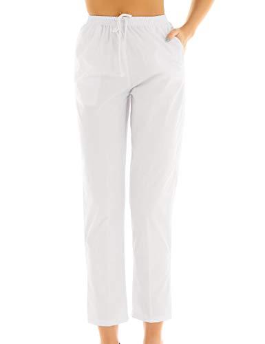 CHICTRY Damen OP-Hose Schlupfhose Schwesternhose Uniformen Pflegerhose Weiß Baumwolle Medizin Arbeitshosen mit Kordelzug Medi Hose S-XXL Weiß Small