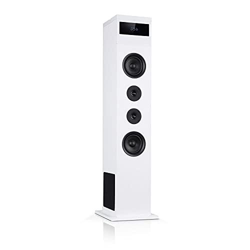 AUNA Karaboom 100 - Sistema di Altoparlanti 2.1, a Torre, Diffusore da Pavimento, 120 Watt max, BT, Porta USB 2 in 1, MP3, Radio FM, AUX-In, Supporto Tablet, Bianco