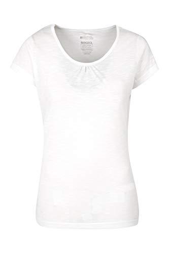 Mountain Warehouse Agra Damen-T-Shirt - leichtes, schnell trocknendes, atmungsaktives Sommer-Oberteil mit hoher Feuchtigkeitsregulierung - für Sport, Wandern, Freizeit Weiß 38