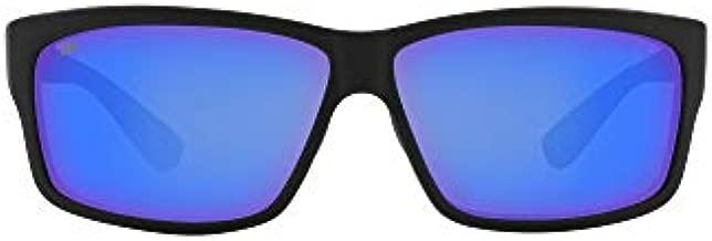Costa Del Mar Men's Cut Polarized Rectangular Sunglasses, Blackout/Grey Blue Mirrored Polarized-580G, 60 mm