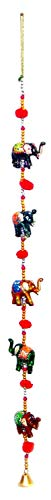 Rastogi Handicrafts Door Hanging Decorative Five Hand Painted Elephant Stringed Together with Beads and Brass Bell