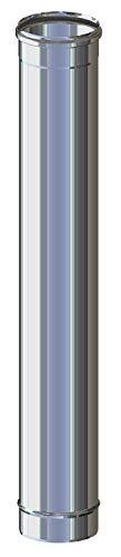 Canna Fumaria - Tubo 1 metro in acciaio inox AISI 316L mono parete per stufa camini caldaie e forni a gas pellet legna e gasolio resistente fino a 600°C. MADE IN ITALY (ø 180)