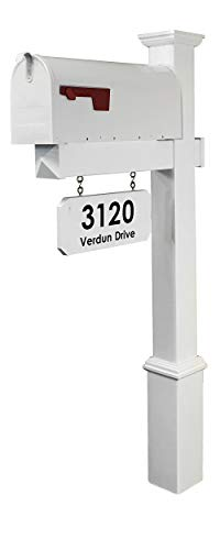 4Ever Products The Amelia Vinyl Mailbox Post System - Includes Steel Mailbox and Custom Street Address (White Mailbox)