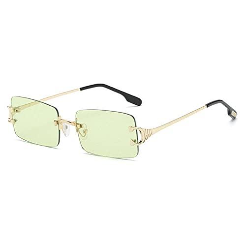 WQZYY&ASDCD Gafas de Sol Gafas De Sol Sin Montura para Mujer, Vintage, para Hombre, para Mujer, para Conducir, Gafas De Sol para Hombre, Verde