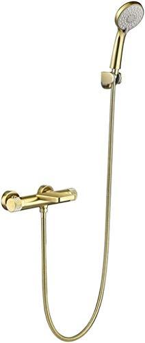 BESTPRVA Montado en la Pared de bañera Grifería termostática Cepillado de Oro de latón Grifo de la Ducha de Mano Adecuado for Cepillado Oro baño de Lujo Conjunto de Ducha (Size : Brushed Gold(B))