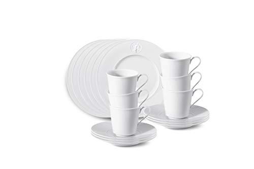 Arkadia Frühstücks-Set 18-TLG. Porzellan von KPM Berlin - Porzellan-Set - Breakfast-Set - Teller-Set - Handmade & als Geschenk verpackt - Weiß