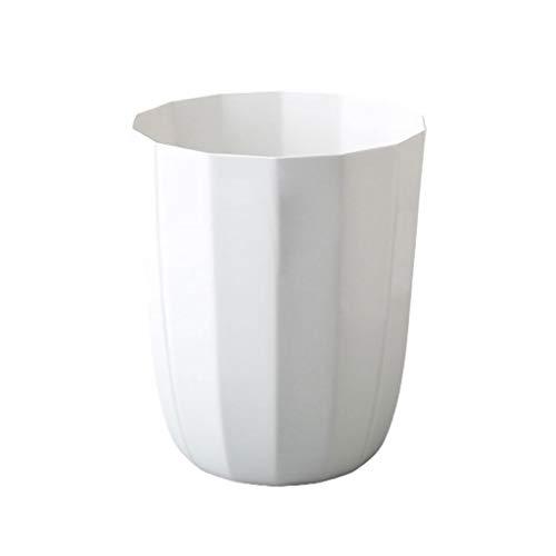 Papelera de plástico para el hogar, de gran tamaño, sin línea de cubierta, cesta de papel de desecho simple para sala de estar, cocina, baño, cocina (color: blanco)
