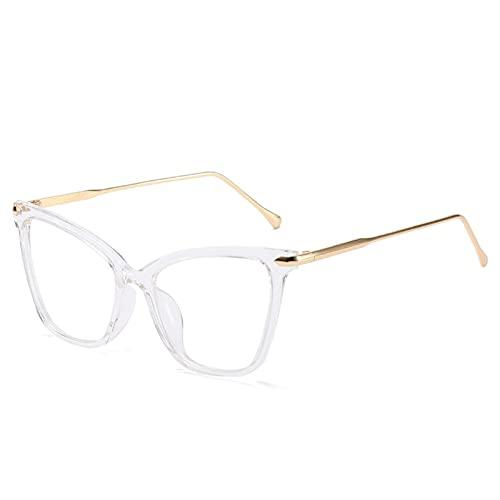 siqiwl Gafas de lectura, Ojo de Gato Gafas de Metal Transparente Marco de Gafas de Mujer Moda Transparente de Ordenador Gafas Vintage (Color: 2, Tamaño: +3)
