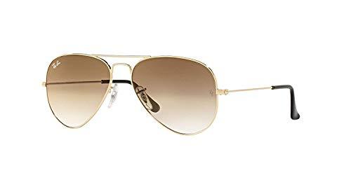 Gafas de sol unisex metálicas grandes de estilo aviador Ray-Ban RB3025 con lentes de color en degradado, (Marco dorado/Lente degradado marrón cristal 001/51), Medium