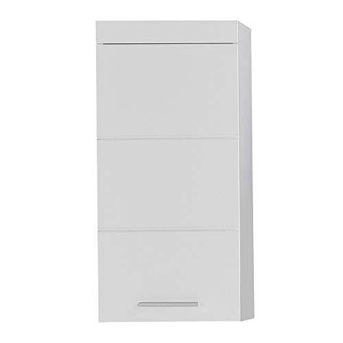 Trendteam Smart Living Meuble Haut / Placard Mural pour Salle de Bain Amanda, 37 x 77 x 23 cm en Blanc / Blanc Brillant avec Beaucoup d'Espace de Rangement
