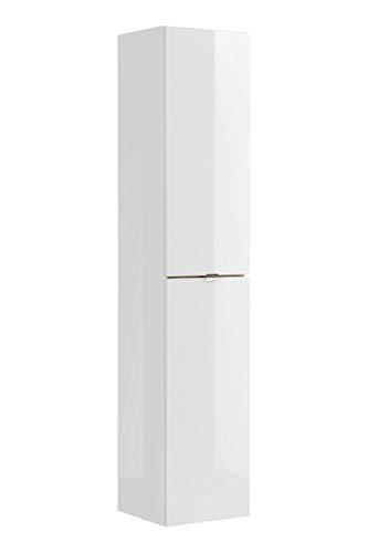 Jadella hoge kast ' Sun White ' badkamerkast hoogglans wit eiken decor 170 cm hoog badmeubel kast