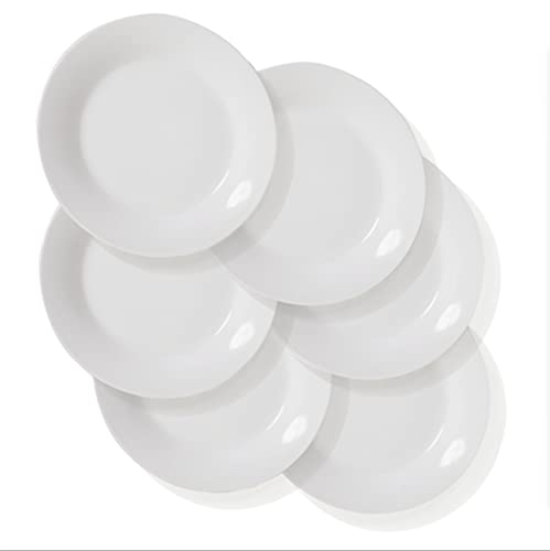 Dinner Plates Sets of 6 for Salad and Desserts, White Round Flat Plates for Party Home Kitchen and Restaurant (7.5 Inch) Christmas Gfit