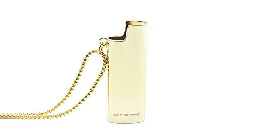 E6PHOMME® EP-13 UNISEX Stainless Farbe GOLD Steel Halskette Edelstahl Kette BIC mini J25 Anhänger kompatibel Lighter
