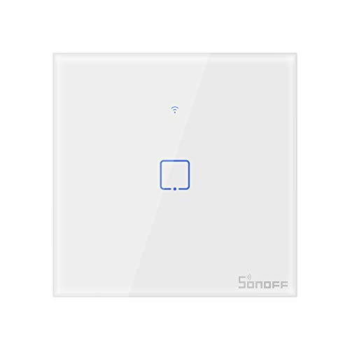 SONOFF T0EU1C intelligent wireless WLAN wall light switch, 1-channel switch of the 86 type for automation solutions in intelligent home technology, works with Alexa, Google Home (1-way)