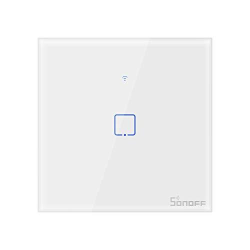 Interrupteur Mural Intelligent,Sonoff Interrupteur Connecté WiFi sans fil,Compatible avec Alexa,Google Home et IFTTT,Interrupteur Tactile Avec Contrôle à Distance et Fonction de Temps(1 Gang)