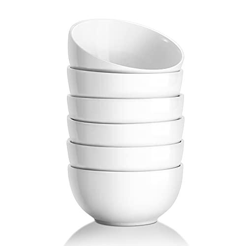 Yedio Porcelain Bowls Set, 17 Ounces Porcelain Cereal Bowls for Kitchen, White Bowls for Soup Rice Salad Pasta, Set of 6, Microwave Dishwasher Safe