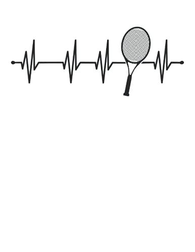 Latido del corazón Tenis Rack: Cuaderno   Cuadriculado   A cuadros, Carta (21,59 x 27,94 cm), 120 páginas, papel crema, cubierta mate
