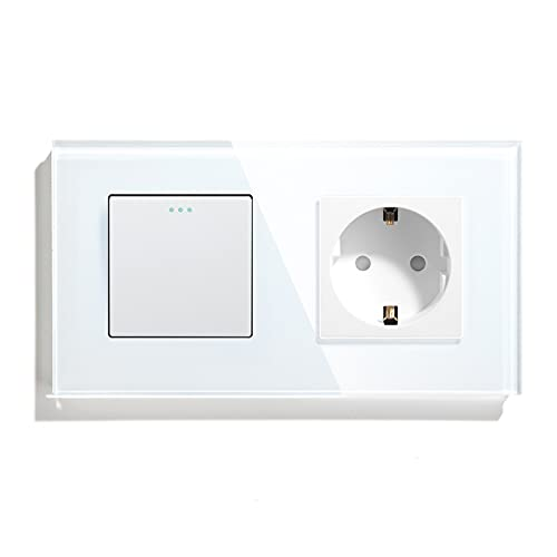 BSEED Interruptor de pared con Enchufe,1 Gang 1 Vía Interruptor conmutador+16A Schuko Enchufe,10A Blanco Interruptor de luz de botón pulsador con cristal marco de cristal,Enchufes de pared para Cocina