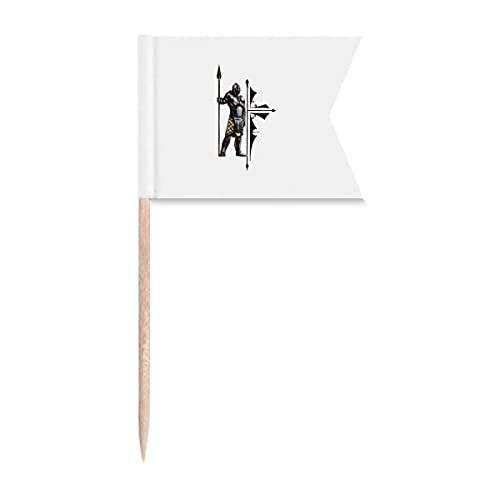 Bandeiras de palito de dente para prateleira de defesa de armas de soldado marcação para bolo de festa, comida de queijo
