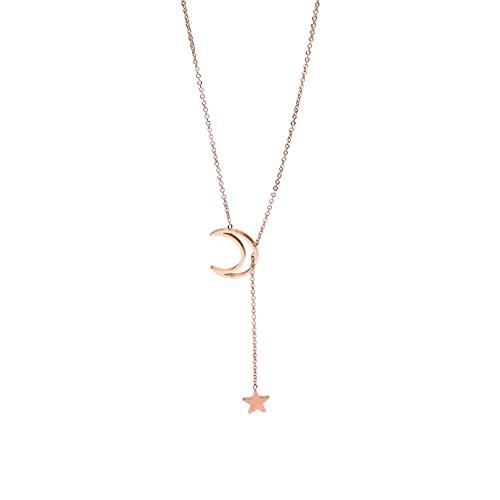 Collar Net Red Simple Star Moon Collar Cadena De Clavícula Femenina Titanio Acero Rose Joyería Collar De Cuello Marea Regalo del Día De San Valentín Regalo del Día De La Madre