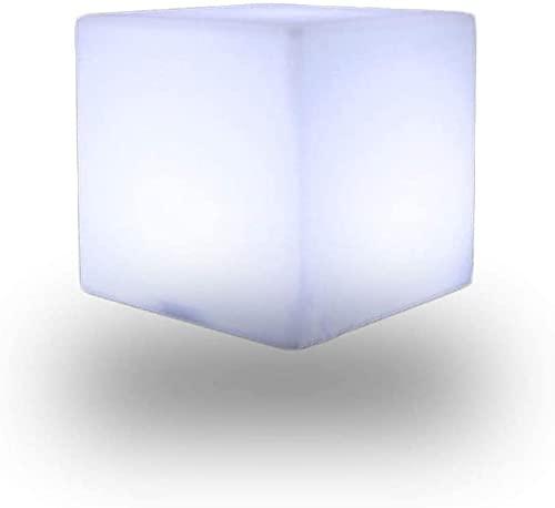 Paddia Taburete con forma de cubo de luz LED que cambia de color, lámpara de estado de ánimo con luz LED, 4 modos, luces de noche recargables, ajustables, 16 colores RGB, taburete brillante para jardí