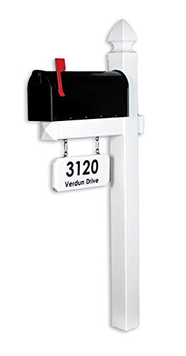 4Ever Products The Loudon Vinyl/PVC Mailbox Post - White (Includes Mailbox and Black Street Name and Number)
