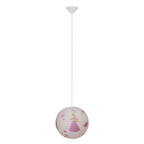 BRILLIANT Suspension papier Princess diametre 30 cm E27 60W rose