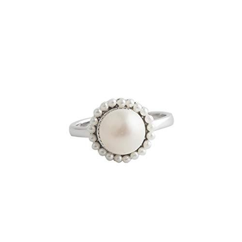 JDWD S925 Sterling Silber Ring Mädchen Mund Einfache Temperament Perle Silber Hand Ornament Blume Design Ring für Damen Ring