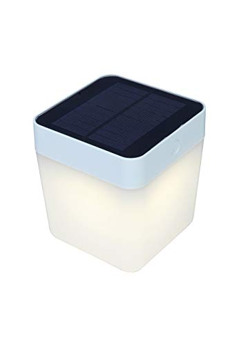 LUTEC Table-Cube Inkl. Solarpanel, Plastik, Weiss, 10,5 x 10,5 x 12,5 cm