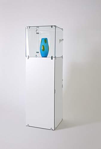 große abschließbare Juweliervitrine Haubenvitrine LED Vitrine Glas & Fach weiß - Präsentationsvitrine für Ausstellungen oder Messen