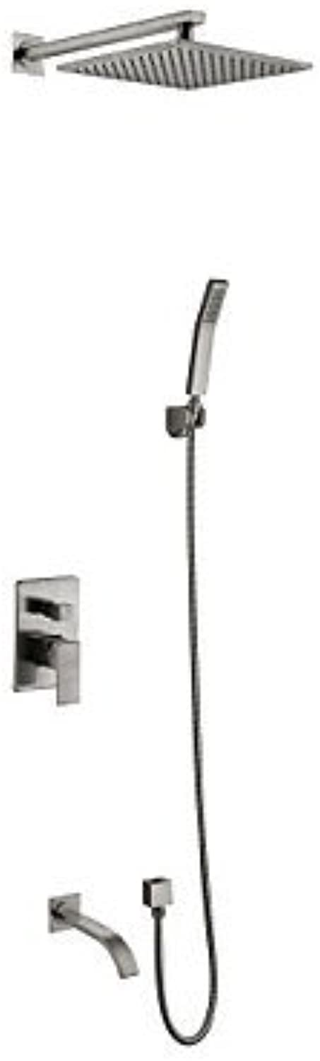 Wall Mounted Ceramic Valve Two Handles Five Holes Nickel Brushed , Shower Faucet
