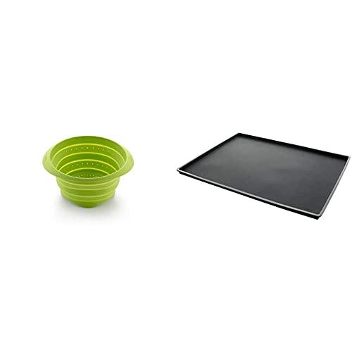 Lékué Colador de Silicona, Verde, 23 cm + negro SALVABANDEJAS ANTIDERRAME CLASSIC 30x4, Silicona, Único